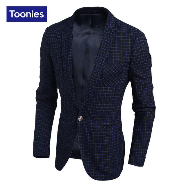 2017 Chaqueta de Los Hombres de Moda Casual de Negocios Más Tamaño Slim Fit Trajes de chaqueta Masculina Chaqueta Traje Botón de la Chaqueta de Los Hombres Traje Formal chaqueta