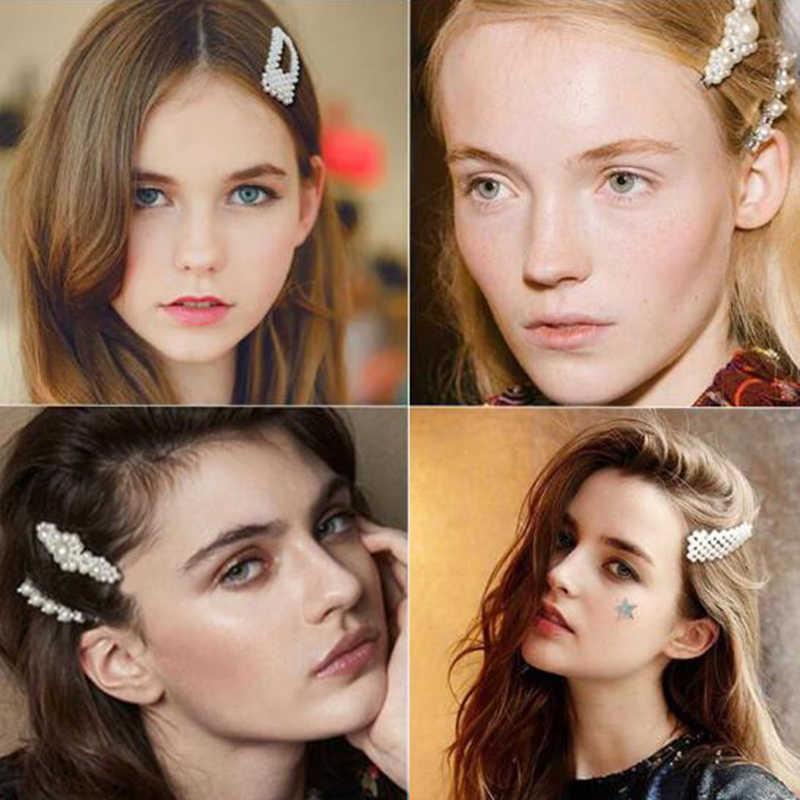 14 estilo de novia Vintage perla de imitación envuelta horquillas accesorios de mujer niña pinza de pelo geométricas Hollow Barrettes tocado