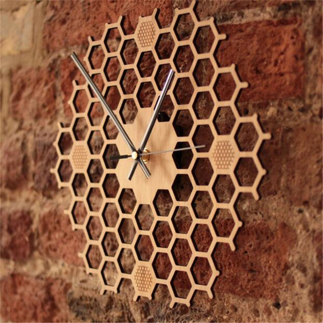 PINJEAS Creative Hexagonal Mute Wooden Decor Bedroom/Office Wall Clocks HoneycombNatural Hanging Mural Clock Wood Crafts