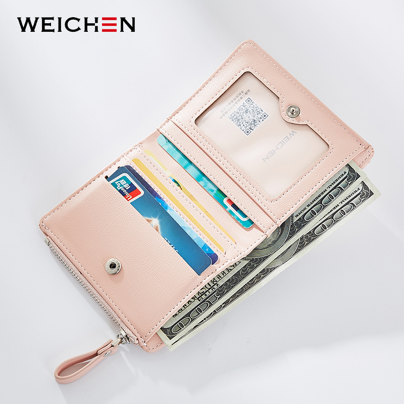 WEICHEN Women Casual Short Wallets, Fashion Lady id Card Holder Coin Pocket Small Wallet Solid Purse Female Carteras Carteira 1