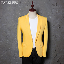 Kostiumy dla piosenkarzy żakiet z dzianiny dresowej mężczyzn jednolity, z nacięciem klapy Slim Fit żółta suknia ślubna garnitury DJ Prom Party rozmiar amerykański Terno Masculino