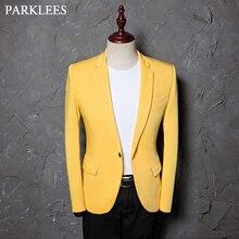Şarkıcı kostümleri Blazer ceket erkekler katı çentikli yaka Slim Fit sarı düğün elbisesi takım elbise DJ balo parti abd boyutu Terno Masculino