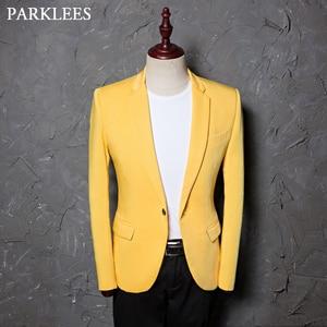 Image 1 - Şarkıcı kostümleri Blazer ceket erkekler katı çentikli yaka Slim Fit sarı düğün elbisesi takım elbise DJ balo parti abd boyutu Terno Masculino