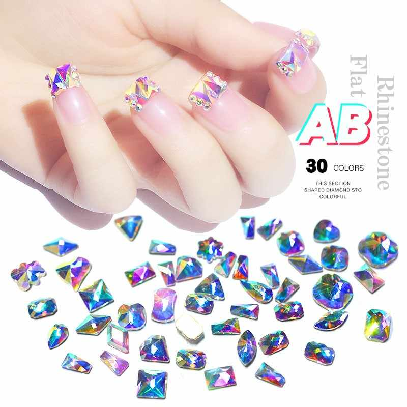 Cristal AB Nail Art Rhinestones mezclado colorido Ojo de caballo WaterdropSquare cristal gemas 3D parte posterior plana DIY Nail Accessories10Pcs 073