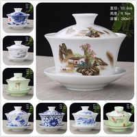 2019 Hand Painted Porcelain Peach Blossoms Ceramic Gaiwan Chinese Kung Fu Tea Set Teaware Tureen Sancai Tea Cup Pu'er Kettle