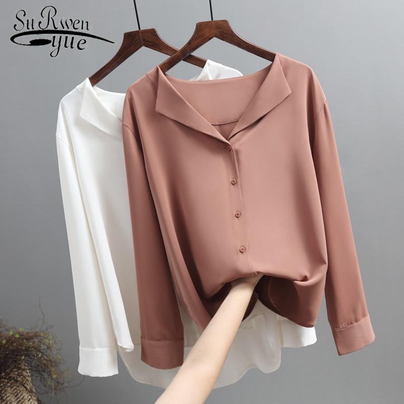 מזדמן מוצק נקבה חולצות להאריך ימים יותר חולצות 2019 סתיו חדש נשים שיפון החולצה משרד ליידי V-צוואר כפתור רופף בגדי 5104 50