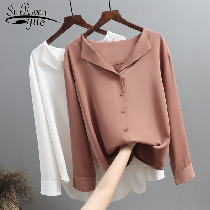 Casual Solid Female Shirts Outwear Tops 2020 Autumn New Women Chiffon Blouse Office Lady V-neck Button Loose Clothing 5104 50