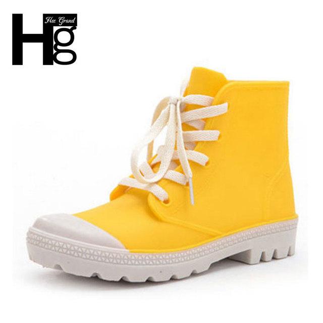 Hee grand 2017 moda sweet candy cor mulheres botas de chuva lace-up ajustável mulheres tornozelo botas sapatos de borracha à prova d' água xwx4266