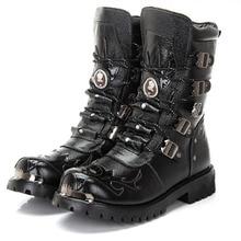 Ботинки в байкерском стиле; Мужская обувь; армейские ботинки; мужские военные ботинки; кожаные зимние черные ковбойские ботинки в готическом стиле; ботинки в стиле панк; рабочие ботинки; 46
