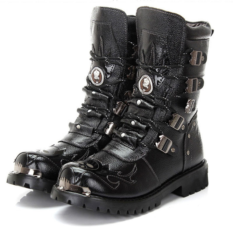 Men Military Boots Genuine Leather Metal Gothic Punk Boots Men Shoes Knight Boots Black Desert Combat Tactical Ankle Boots Men