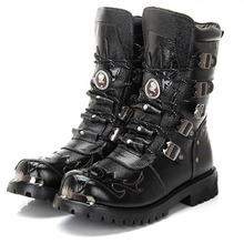 Men Military Boots genuine leather Metal Gothic Punk men Shoes Knight boots Black Desert Combat Tactical Ankle