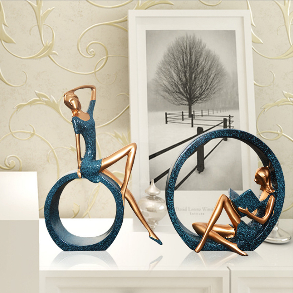Home Decoration Accessories European Style Home Decoration Resin Crafts Girl Reading Ornaments Art