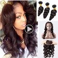 Brazilian Loose Wave With Frontal Closure 3 Bundles Brazilian Virgin Hair 360 Lace Frontal With Bundles Loose Wave Human Hair