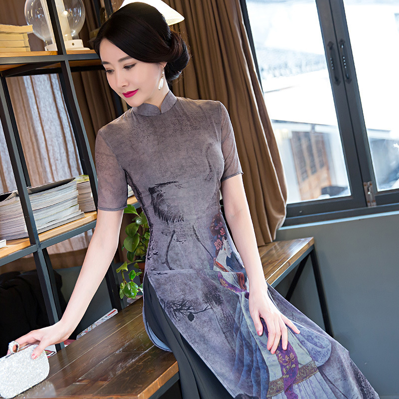 New Gray Chiffon Long Qipao Women Vietnam Aodai Print Flower Sexy Cheongsam Vintage Mandarin Collar Elegant