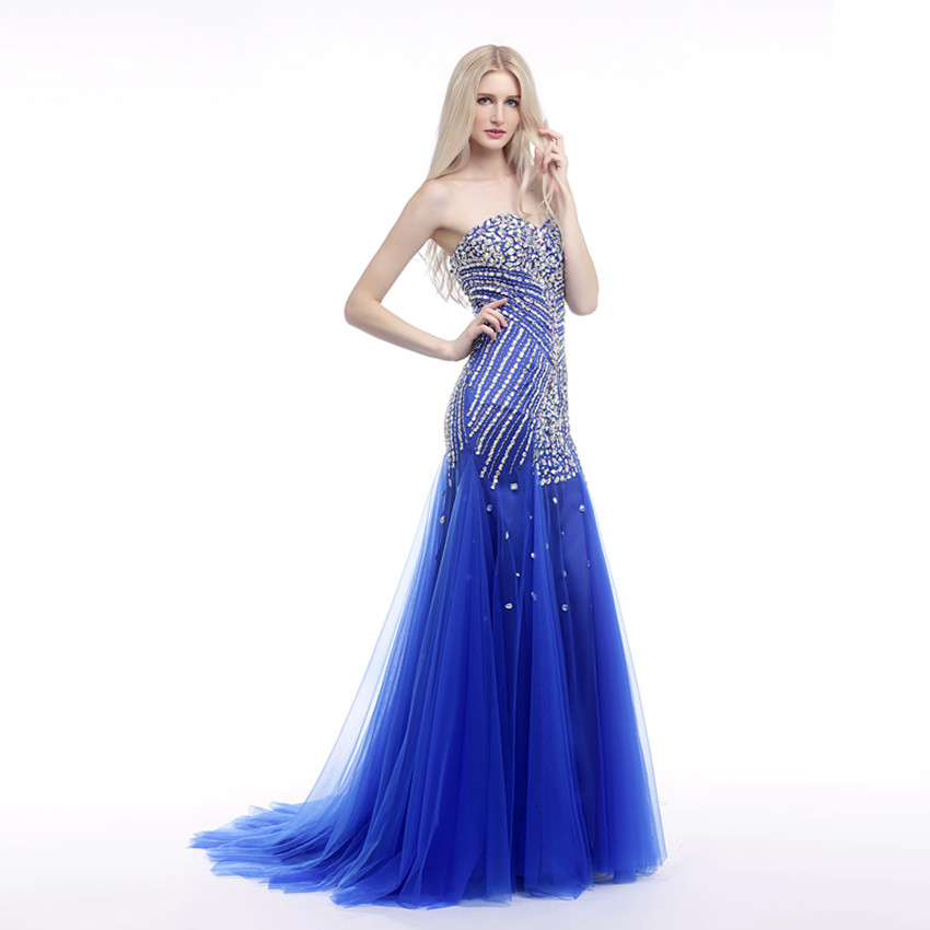 Royal Blue Prom Dresses 2019 Rhinestone Plus Size Dress Sweetheart Beaded Tulle Evening Long Sexy Gala