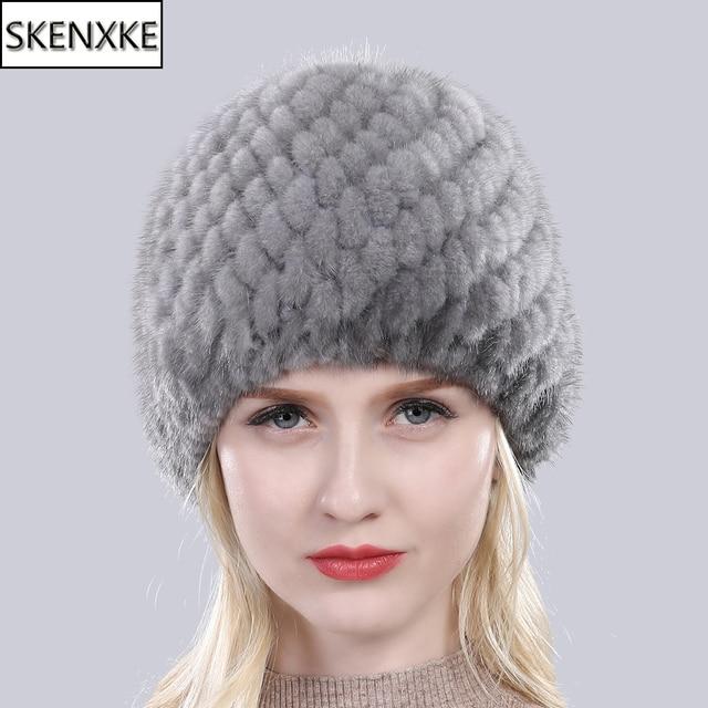 روسيا جديد الشتاء سيدة الطبيعية فرو منك قبعة صغيرة متماسكة الدافئة مخطط حقيقي فرو منك قبعات النساء جيدة مطاطا ريال فرو منك قبعة