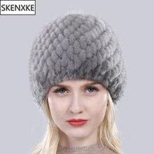 Russia New Winter Lady Natural Mink Fur Beanies Hat Knit Warm Striped Genuine Mink Fur Caps Women Good Elastic Real Mink Fur Hat