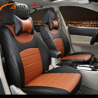 AutoDecorun custom fit seat cover set for audi A4 seat covers PU leather cars cushion seat supports protector covers accessories