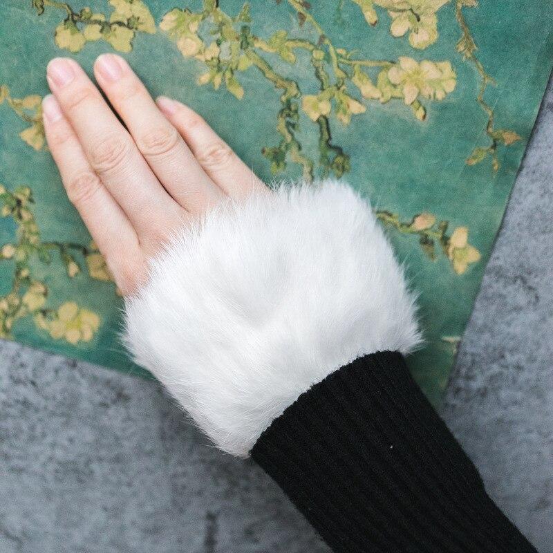 Mode Hohl Dicken Falten Hand Schüssel Set Frauen Stricken Herbst Winter Frauen Stricken Pullover Echtpelz Falten Hand Schüssel Spitze Manschetten Attraktive Mode Armstulpen Bekleidung Zubehör