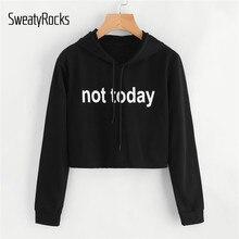 7464ad8ee41ee SweatyRocks Black Sweatshirts Slogan Print Crop Hoodie Letter Women Clothes  Long Sleeve Casual Pullovers Drawstring Sweatshirt