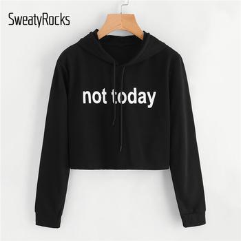 SweatyRocks Black Sweatshirts Slogan Print Crop Hoodie Letter Women Clothes Long Sleeve Casual Pullovers Drawstring Sweatshirt