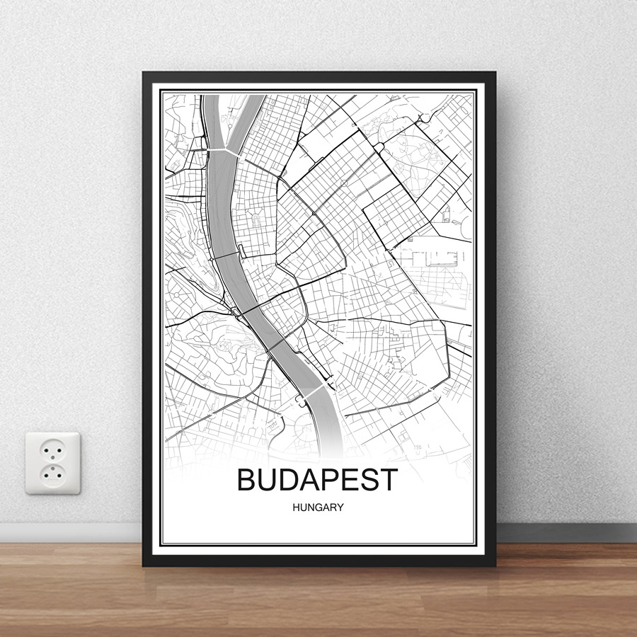 Berlin germany city street map print poster abstract coated paper bar cafe pub living room home decoration wall sticker 42x30cm