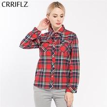 CRRIFLZ 2017 Spring Autumn Women's shirts Clothes Plaid Long Sleeve Blouse Shirt Plus Size Cotton Plaid Women Tops blusas NO.10