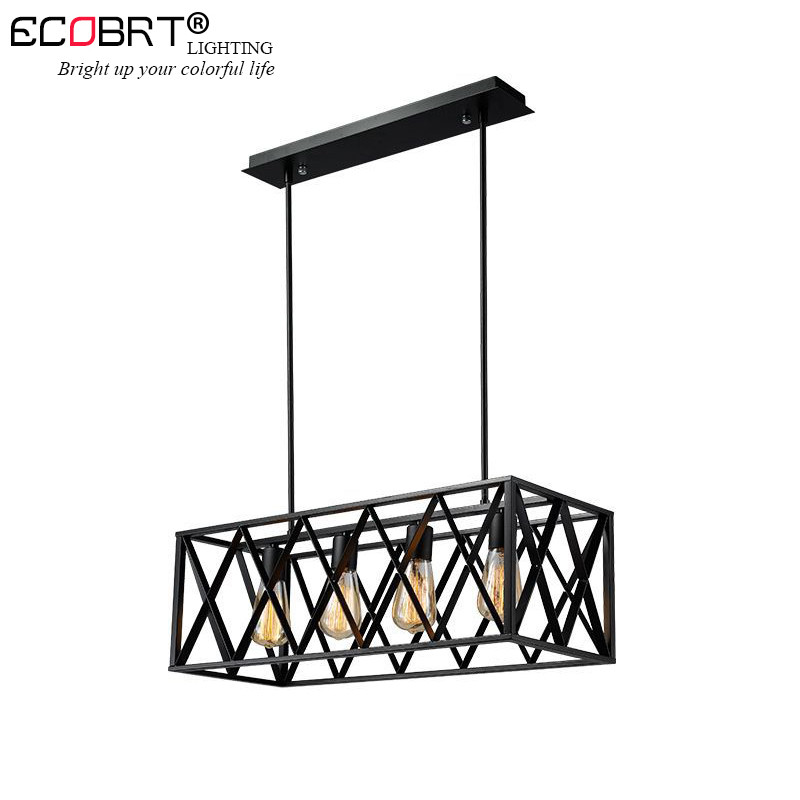 ECOBRT Vintage Metal Pendant Lights Industrial Decor Iron Cage Hanging Lamp Loft Hanglamp for Bar Restaurant