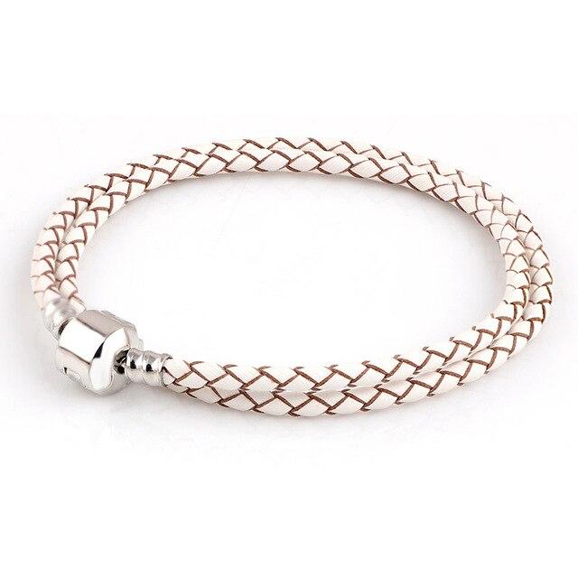 Lato w stylu biały prawdziwej skóry bransoletka łańcuch nadające się do Charms bransoletki DIY Metal pasuje do ze szkła ze stopu europejskiej Big Hole koraliki