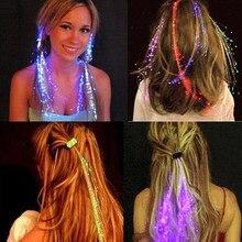 Meninas luz led piscando trança de cabelo brilhante brinquedos luminosos para crianças hairpin novidade diversão crianças tema ao ar livre festa brinquedos presente