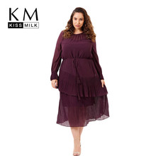Kissmilk Large Size Simple European And American Commuter With Tassel Long Sleeve Asymmetric Multi-Layer Pleated Dress