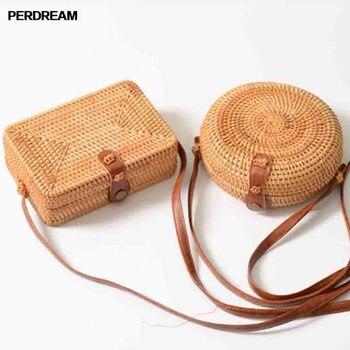 Rattan bag ins diagonal cross mini bag Mori basket tweezers retro art hand-woven leather buckle bag Сумка