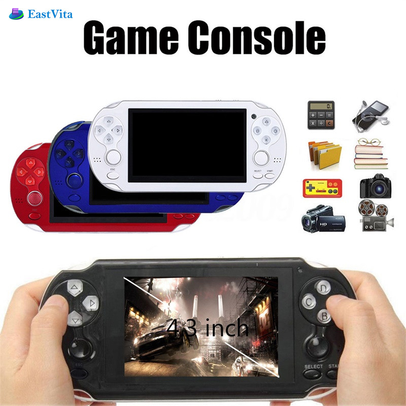 EastVita 4GB Handheld Game Console 4.3 Inch Portable Colorful Mini Video Gaming Players Mp4 Mp5 Support TV Out Camera E-Book r30