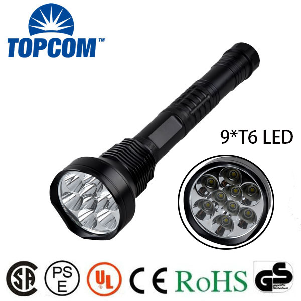 Super Bright 18650 Battery Powered Hunting Type 11,000 Lumens 9 XM-L T6 LED flashlight For Camping , Hunting 20000 lumens led super bright flashlight 9x cree xm l t6 9t6 camouflage outdoor torches for camping hiking 4pcs 6000mah 18650