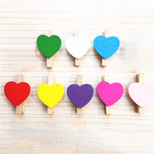 Mini Love Heart Wooden Clothes Photo Paper Peg Pin Clothespin Craft Clips New arrived #20181207(China)