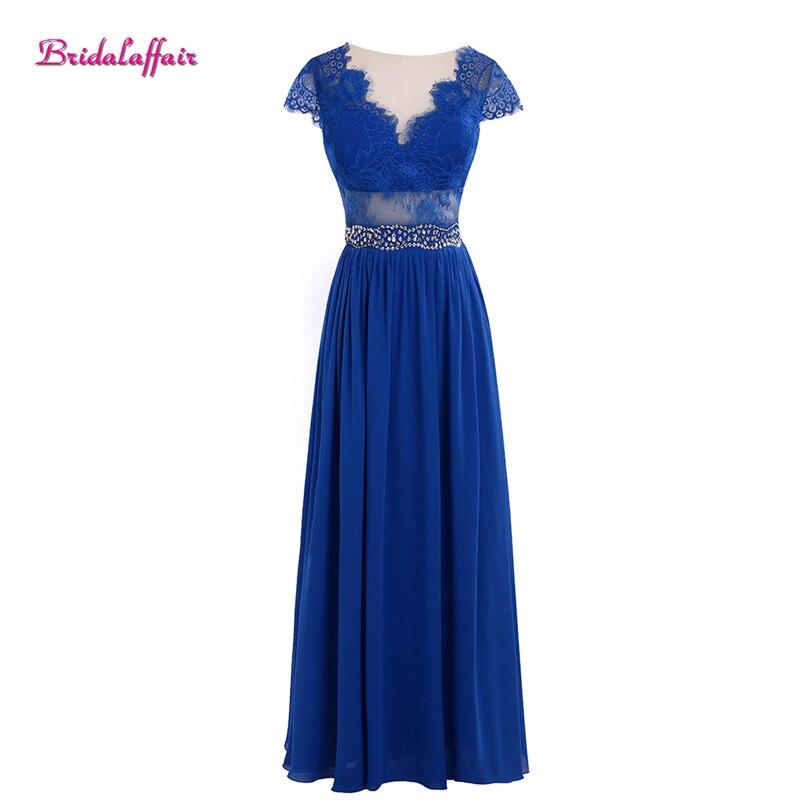 Femmes bleu robes de bal col en V robe de soirée 2018 manches courtes robes de bal galajurken lang robe de soirée dentelle robe de gala