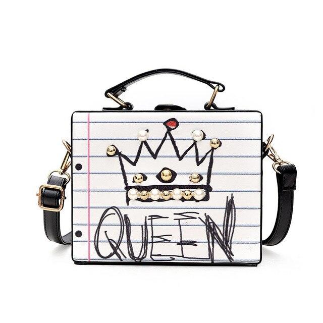 Women Bag Graffiti Printing Box Shaped Shoulder Bags Fashion Rivet Crossbody Designer Leather Handbags High Quality