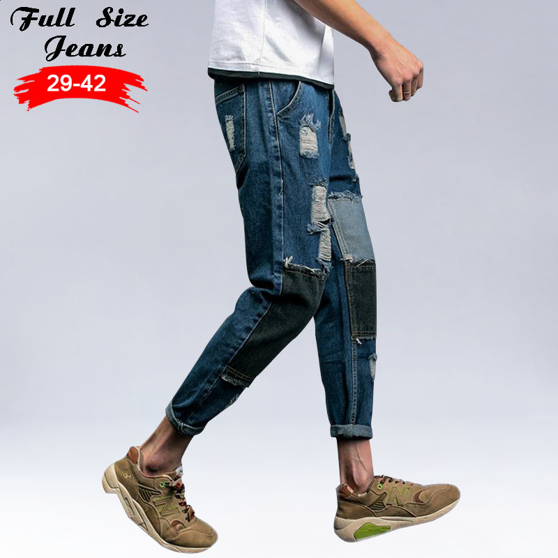 Spring New Plus Size Ripped Jeans Men'S Big Yards Patched Nine Pants Korean Version Men Trousers 3Xl 4Xl 5Xl 2016 new brand spring korean version of the retro men s trousers tide big yards jeans slim pants feet hole tide size 29 36
