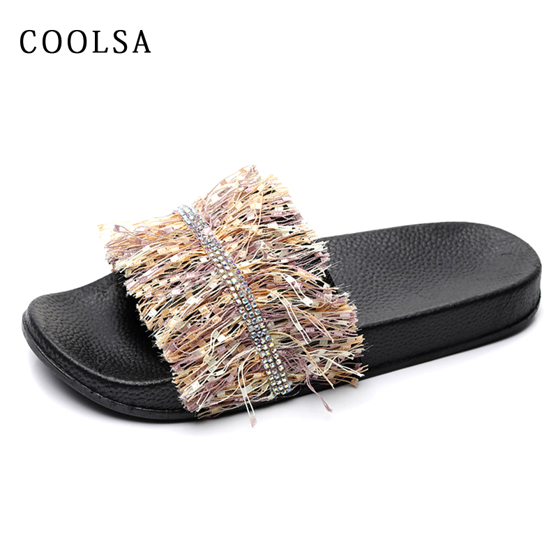 New Summer Diamond Women Slippers Fringe Sexy Beach Sandals Fur Slides Non Slip Home Flip Flops Casual Flat Comfortable Shoes