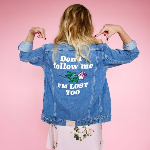 75140c07e35 Retro Washing Embroidery Letter Patch Jeans Bomber Fashion Jacket Light  Blue Ripped Denim Coat Daylook Plus