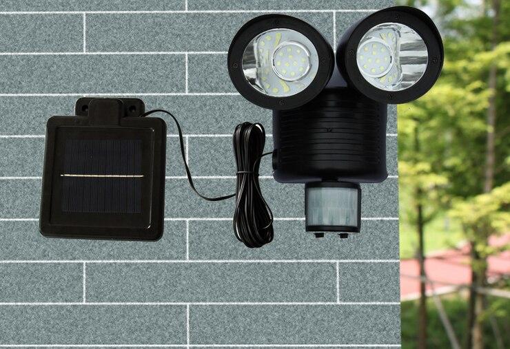 NEW Black Solar 22 LED Security Lights Shed Garage Motion Sensor Light Lamp PIR Garden Light Two Heads ds 360 solar sensor led light black