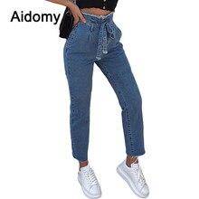 Arco Sashes Jeans mujeres alta cintura pantalones largos negro azul Denim  Jeans para las mujeres borla b628b75ae445
