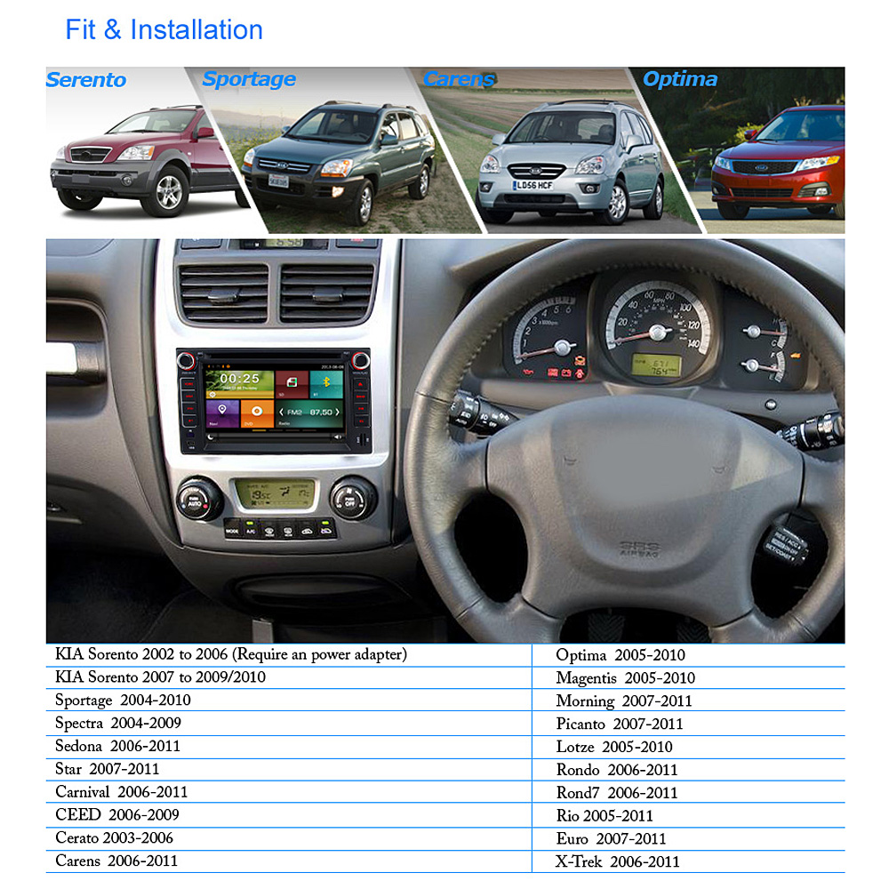 A Sure Ipod 6 2 2 Din Gps For Kia Carens Carnival Rio Sportage