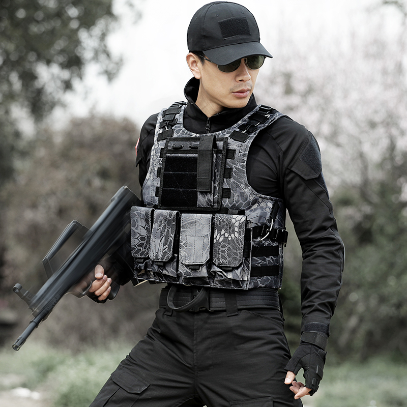Combat Vests Camouflage Amphibious Tactical Hunting Airsoft Vest With Pouch Assault CS Training Black Bionic Python Pattern Vest camouflage tactical vest mens hunting vest outdoor black training military army swat mesh vests protective equipment
