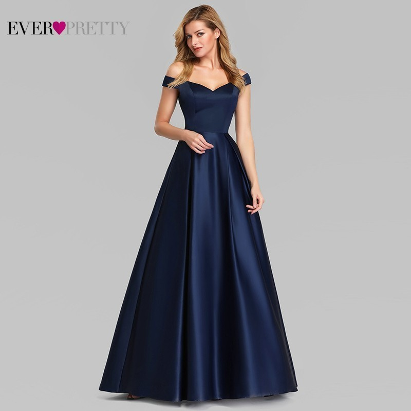 Navy Blue Elegant Women Long Prom Dresses 2019 Ever Pretty Satin A-LIne V-Neck Off The Shoulder Vintage Formal Party Dresses