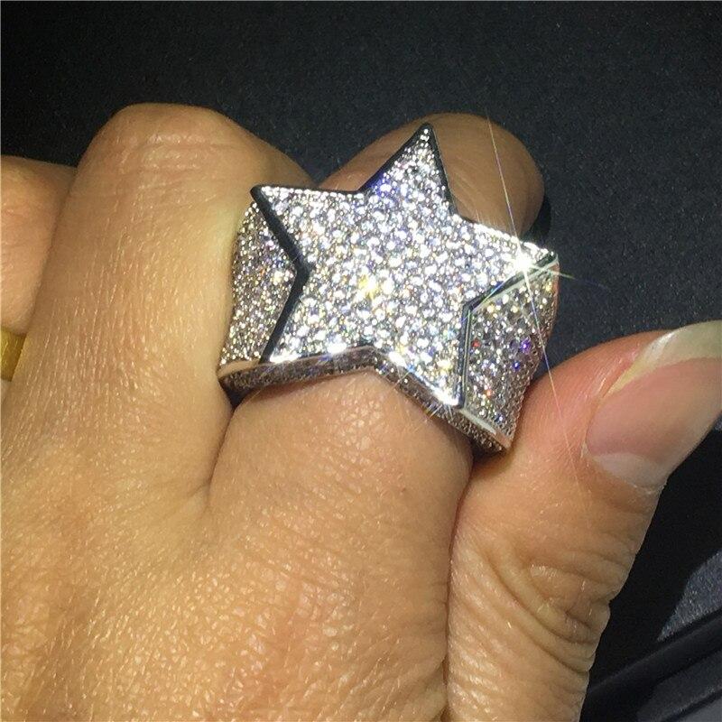 Grosse étoile mâle Hiphop anneau or blanc rempli Micro Pave 500 pièces AAAAA Cz fête anniversaire bande anneaux pour hommes mode Rock bijoux - 5