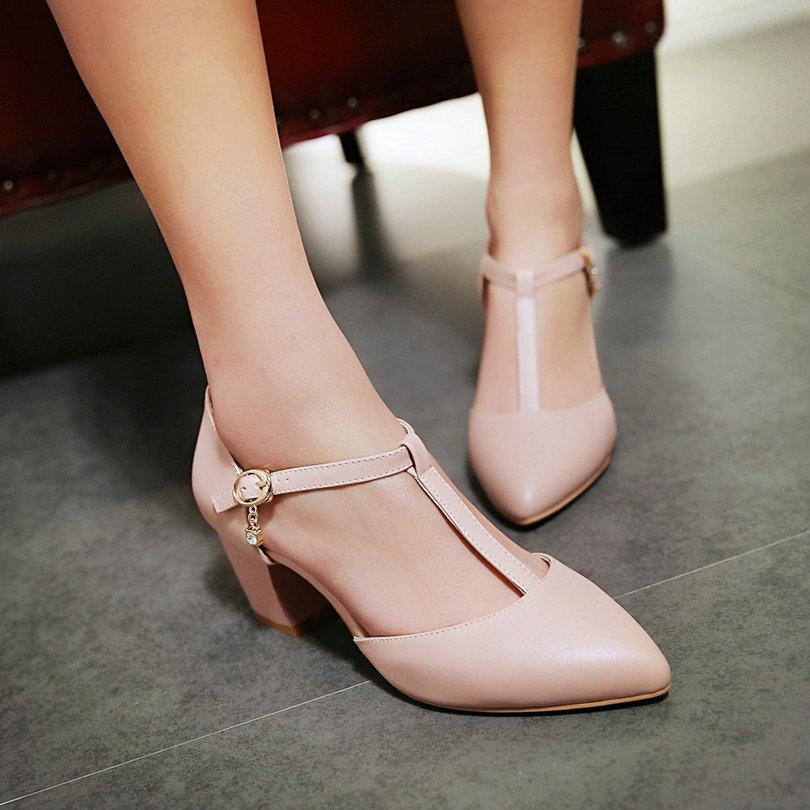 ФОТО T-strap Ladies Summer Shoes Square High Heel PU leather Platform Woman Pumps Rhinestone Ladies Wedding Shoe Size 34-43