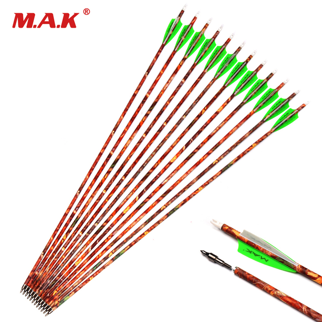 US $15 69  6/12/24 pcs Mixed Carbon Arrows 30 Inches OD 7 8mm Green White  feathers Spine 500 Replaceable Arrowhead for Recurve Bow Hunting -in Bow &