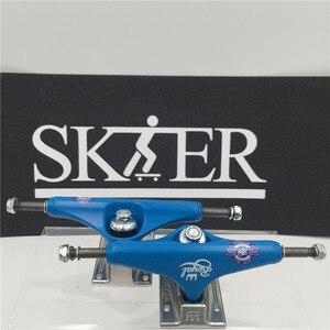 """Image 3 - قطع لوح التزلج عالية الجودة من النوع الأوسط المجوف لشاحنات التزلج 5.25 """"شاحنات تزلج بيضاء فضية اللون شاحنات من الألومنيوم"""