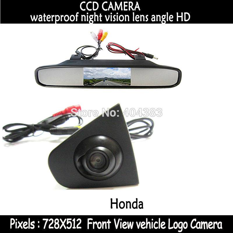 CCD Vehicle logo Front view camera +4.3front view monitor for Honda Odyssey New accord Civic CRV Spirior Crosstour night vision